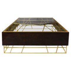 21st Century Kenzo Center Table Walnut Wood Root Gold Leaf Coated Metal Glass