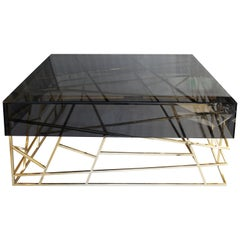 21st Century Kenzo II Center Table Smoked Glass Gold Leaf Coated Structure