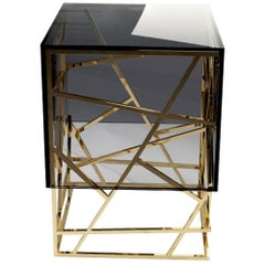 21st Century Kenzo Side Table Smoked Glass Gold Leaf Coated structure