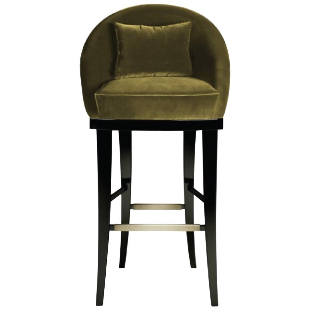 21st Century Kim Bar Chair Cotton Velvet Beechwood