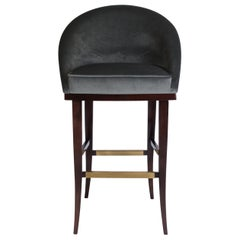 21st Century Kim Bar Chair Cotton Velvet Walnut Wood Legs