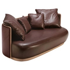 Kir Royal 2-Seater Sofa in Brown Leather and Wood
