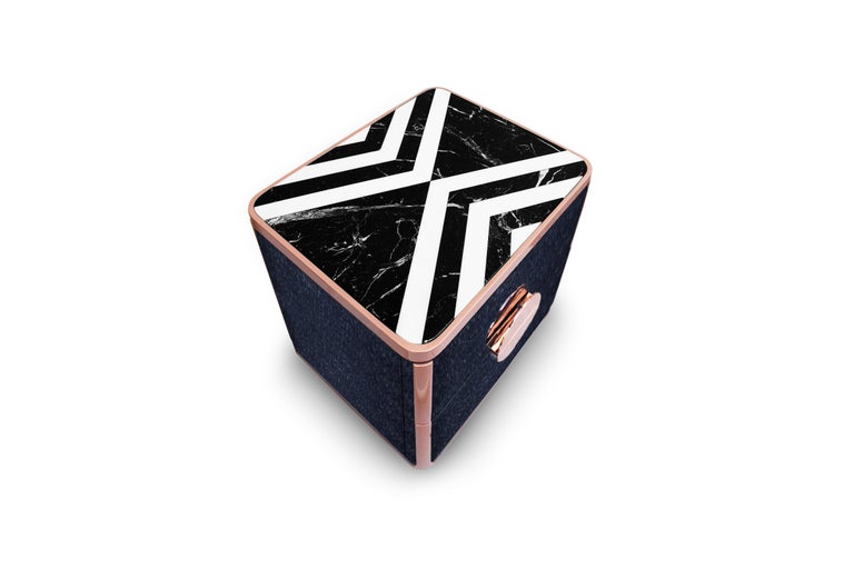 21st Century Knox Nightstand Negro Marquina and Ochiro Marble In New Condition For Sale In RIO TINTO, PT