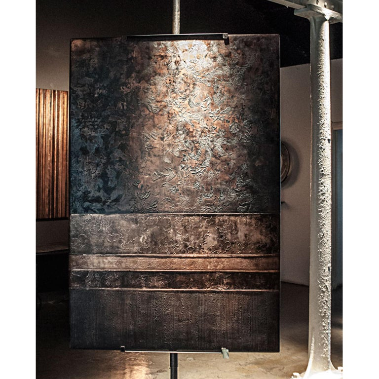 Copper tapestry artwork on canvas (180 x 120cms). Overlaid with stucco in bas relief. Painted and embellished with burnished copper-leaf by the artist.