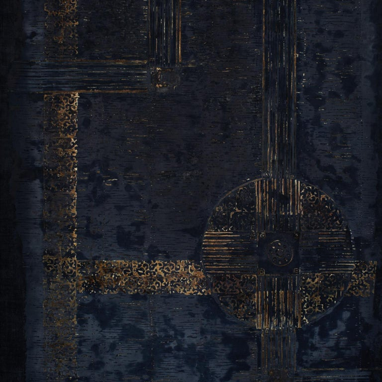 Artwork in shades of blue (180 x 120). Overlaid with stucco. Painted and gilded by the artist.