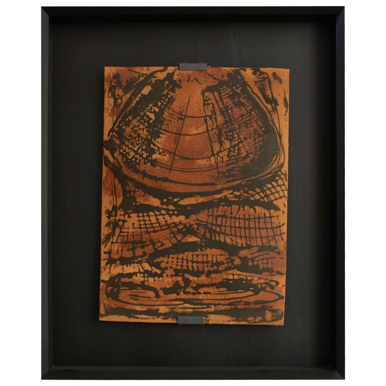 21st Century Laboratorio Avallone Artwork on Terracotta Stucco and Painted For Sale