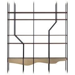 21st Century Large Bookcase Walnut Veneer Dark Oxidized Brass Black Lacquer