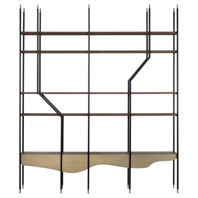 21st Century Large Bookcase Walnut Veneer Dark Oxidized Brass Black Lacquer For Sale
