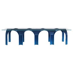 21st Century Laguna, Deep Blue Shaded Modular Table Lacquered Wood Glass Top