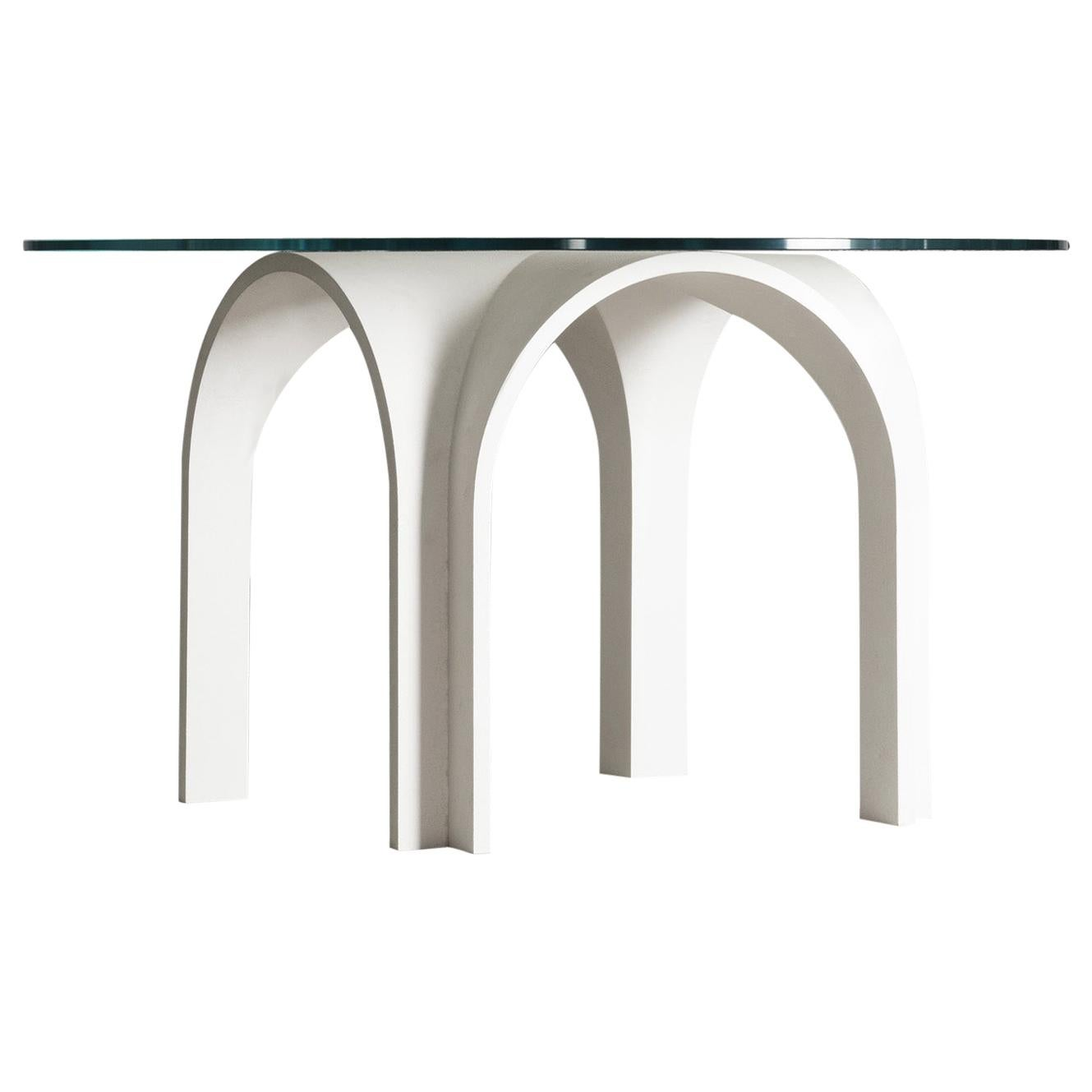 21st Century Laguna White Modular Table Glass Top Lacquered Wood