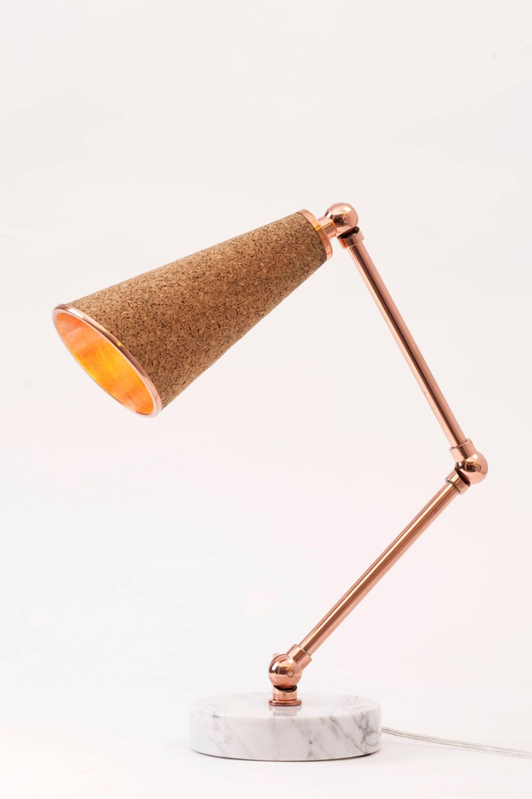 21st Century Lanterna Cork Table Lamp In Copper And