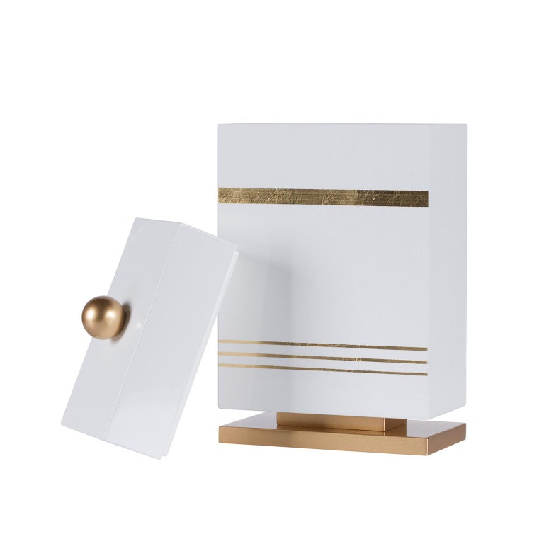 Modern Lanzarote L Wooden Decorative Box Gold Leaf Gilding White Gold Lacquering For Sale