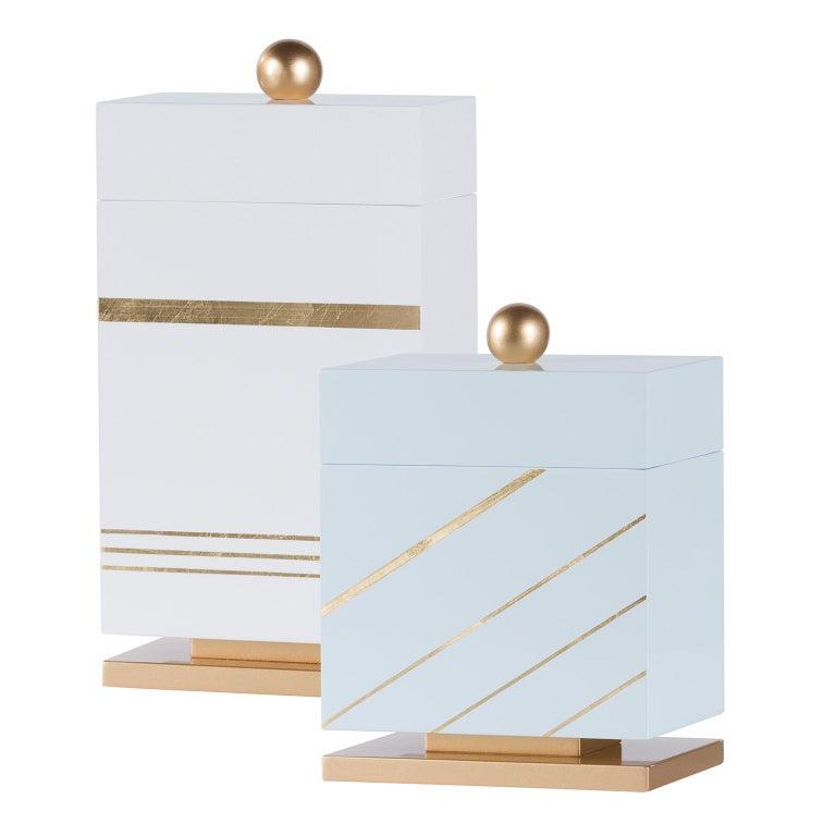 Portuguese Lanzarote L Wooden Decorative Box Gold Leaf Gilding White Gold Lacquering For Sale