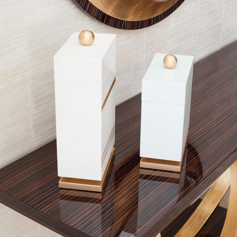 Gilt Lanzarote L Wooden Decorative Box Gold Leaf Gilding White Gold Lacquering For Sale