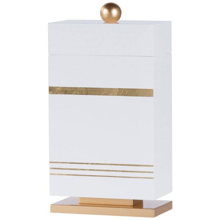 Lanzarote L Wooden Decorative Box Gold Leaf Gilding White Gold Lacquering For Sale
