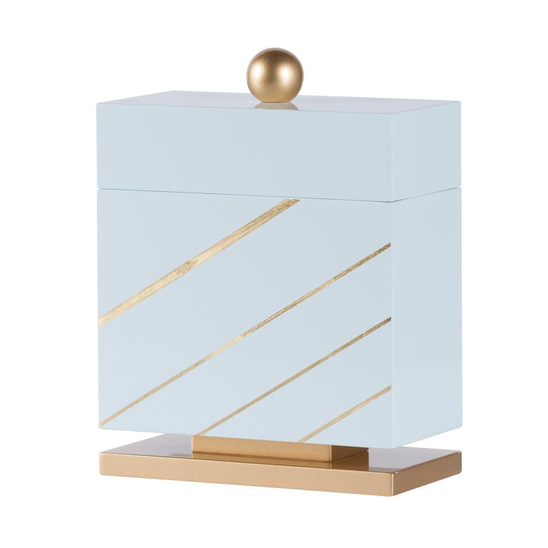 Modern Lanzarote M Wooden Decorative Box Gold Leaf Gilding Light Blue Gold Lacquering For Sale