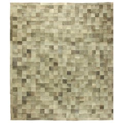 21st Century Large Hair-on-Hide Gray and Light Brown Modern Rug