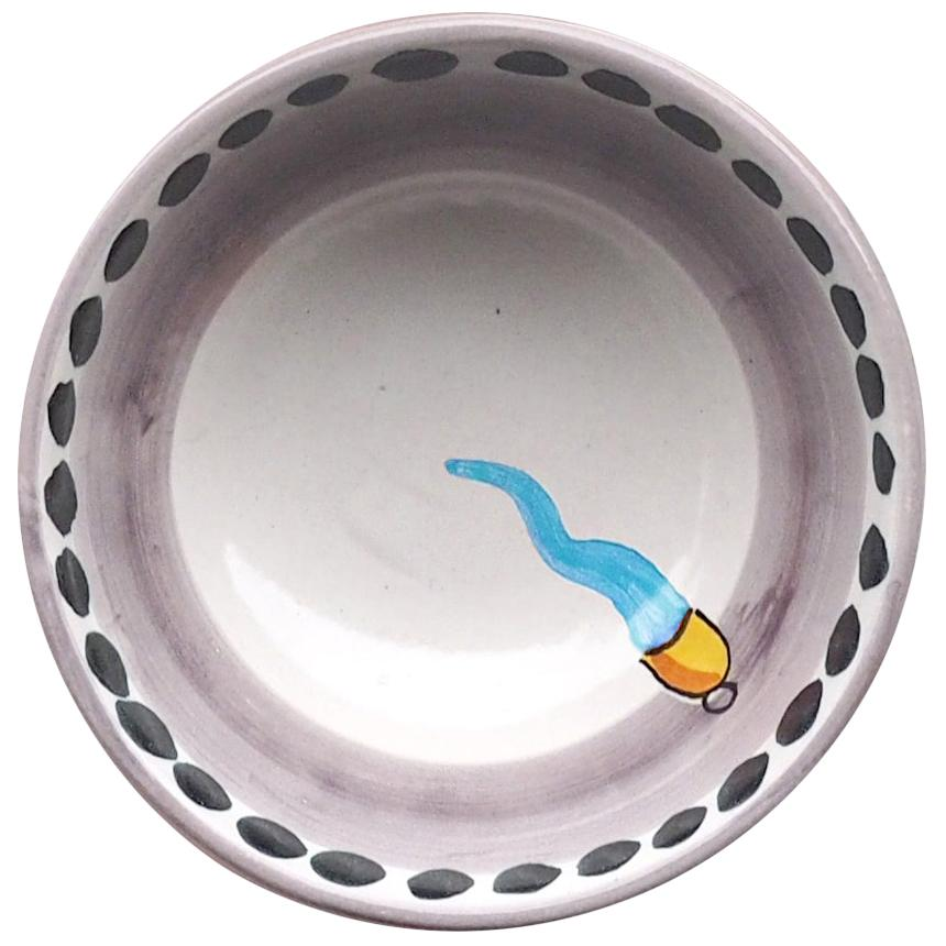 21st Century Large Hand Painted Ceramic Bowl in Light Blue and White Handmade