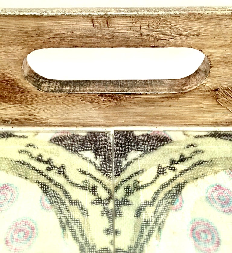21st Century Large Wood Printed Belgium Linen and Glass Cutout Handle Tray For Sale 8