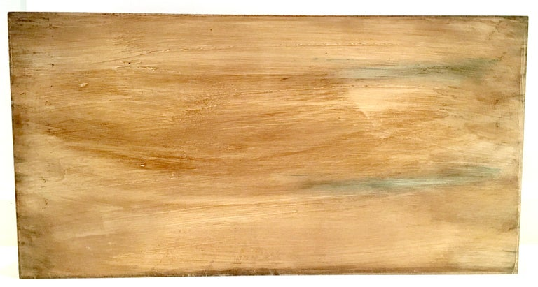 21st Century Large Wood Printed Belgium Linen and Glass Cutout Handle Tray For Sale 9