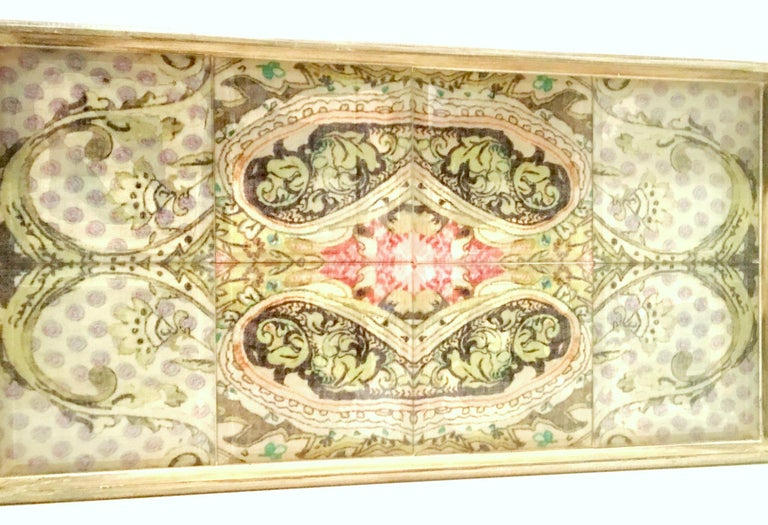 21st Century Large Wood Printed Belgium Linen and Glass Cutout Handle Tray In Good Condition For Sale In West Palm Beach, FL