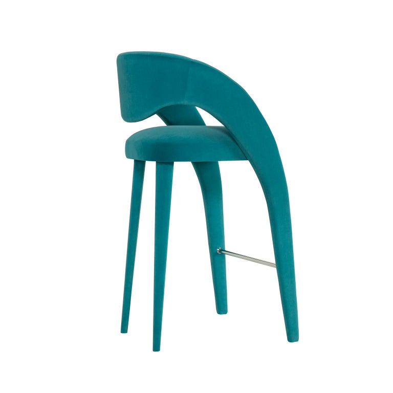 Modern Laurence Bar Chair with Armrests Wood Turquoise Textured Fabric Stainless Steel For Sale