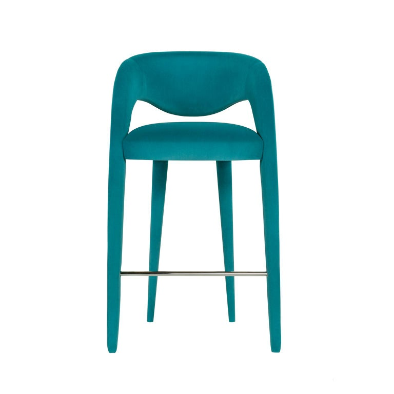 Portuguese Laurence Bar Chair with Armrests Wood Turquoise Textured Fabric Stainless Steel For Sale