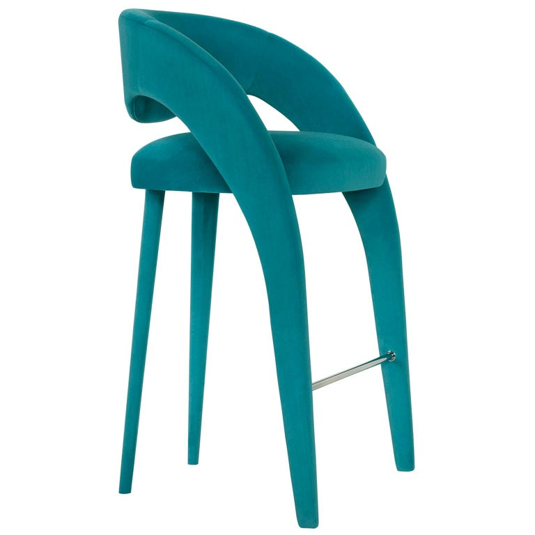 Laurence Bar Chair with Armrests Wood Turquoise Textured Fabric Stainless Steel For Sale