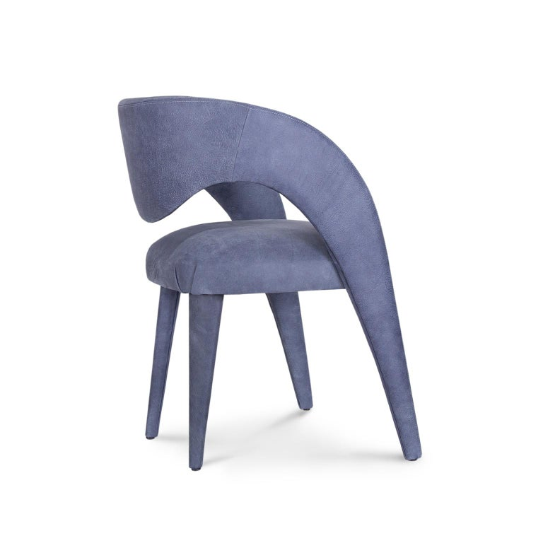 Modern Laurence Chair with Armrests Wood High Standard Blue Italian Leather For Sale