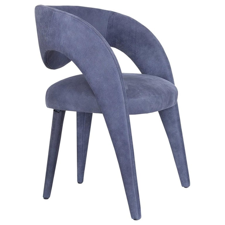 Laurence Chair with Armrests Wood High Standard Blue Italian Leather For Sale