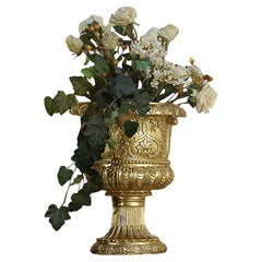 21st Century Laurier Decorative Wood Vase with Gold Finish by Modenese Gastone
