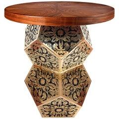 21st Century Lazuli Side Table Radial Matched Ironwood Polished Brass