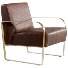 21st Century Leather and Brass Armchair