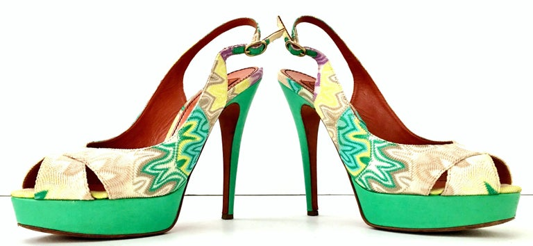 21st Century Contemporary & New Aqua leather heel chevron fabric peep toe sling back platform shoes By, Missoni. These never worn but for a runway show platform sandals feature, vivid aqua leather with multi color iconic