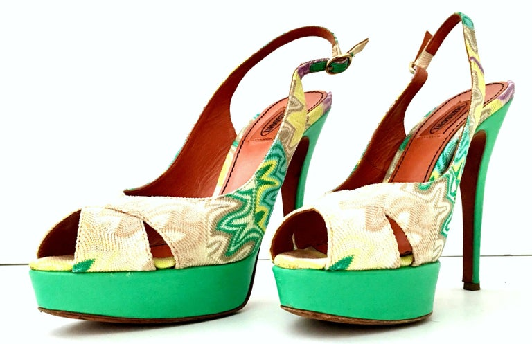 Women's 21st Century Leather Chevron Peep Toe Platform Shoes By, Missoni-Size 8.5 For Sale