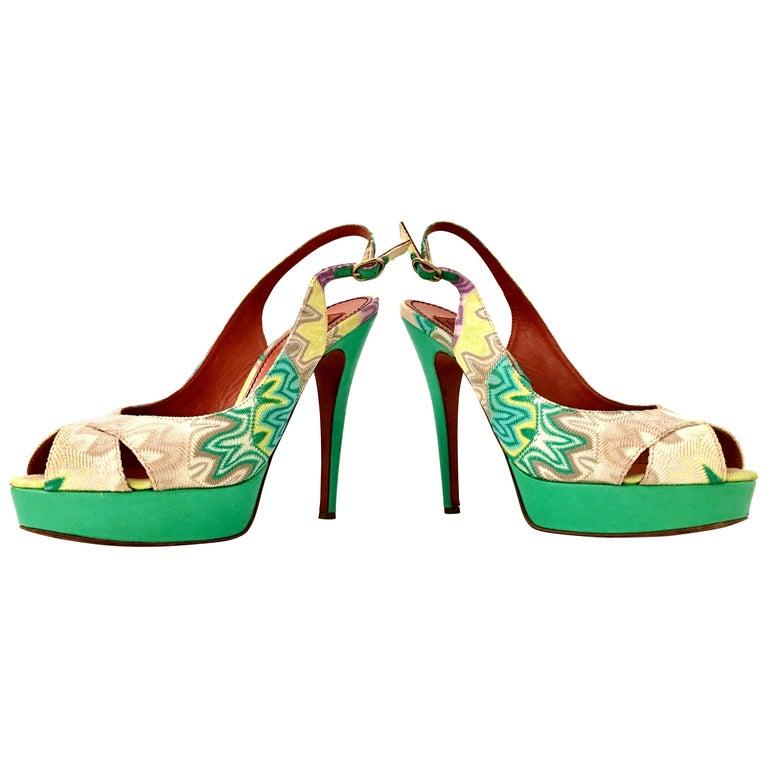21st Century Leather Chevron Peep Toe Platform Shoes By, Missoni-Size 8.5 For Sale