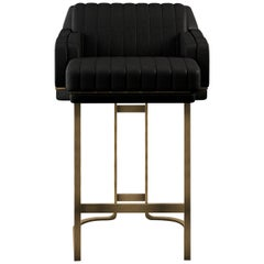 21st Century Leather Houston Bar Chair Brass