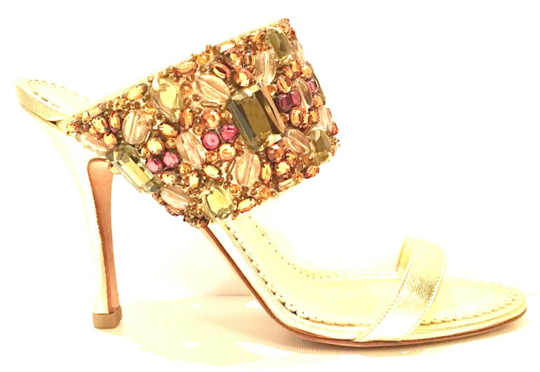 21st Century Leather & Swarovski Crystal Stiletto Shoes By, Manolo Blahnik For Sale 1