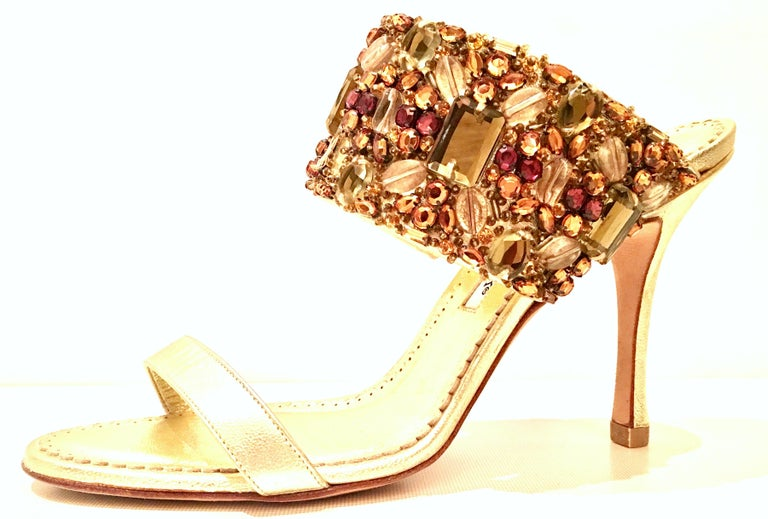 21st Century Leather & Swarovski Crystal Stiletto Shoes By, Manolo Blahnik For Sale 2