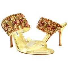 21st Century Leather & Swarovski Crystal Stiletto Shoes By, Manolo Blahnik
