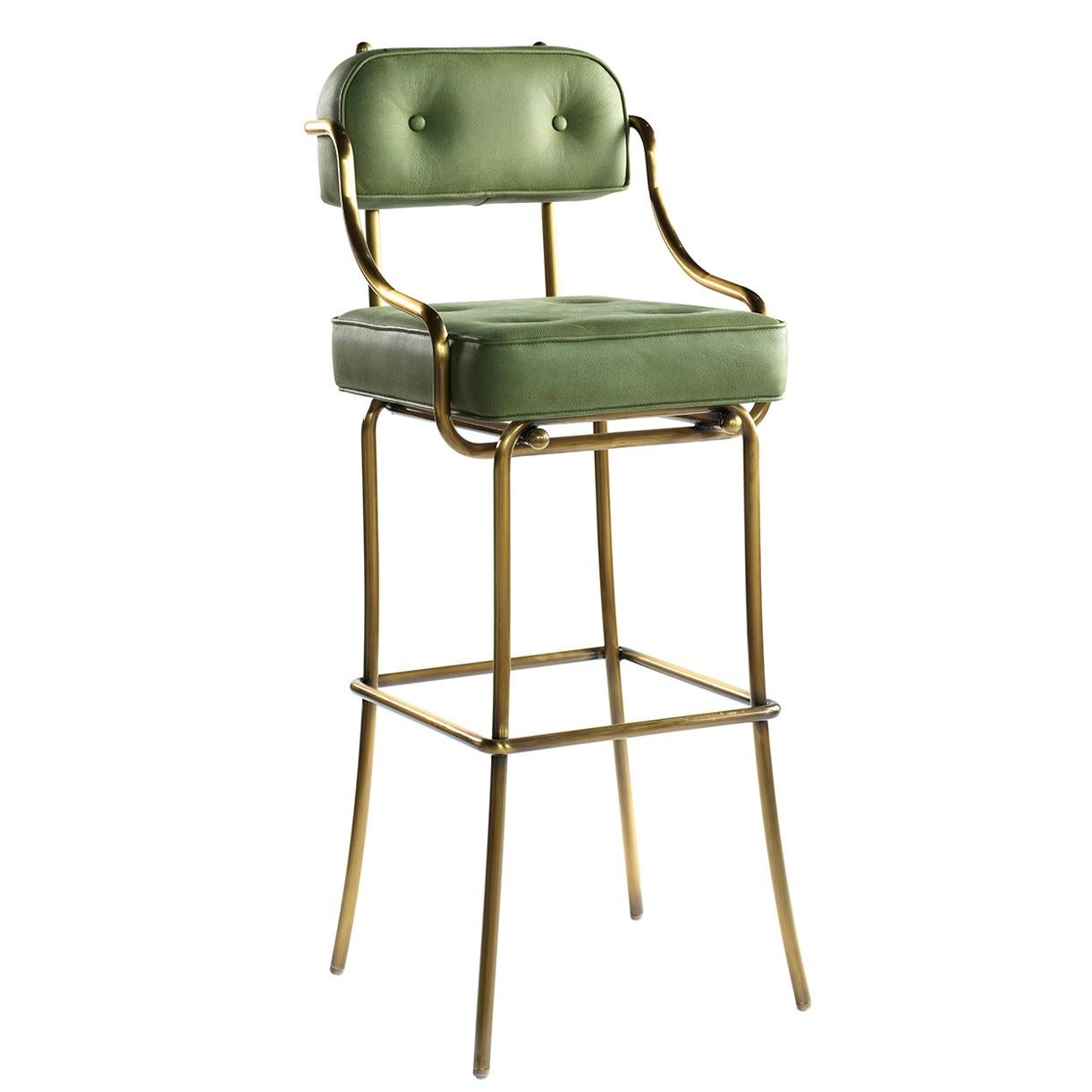 21st Century Leather Upholstered and Bronzed Frame Bar Stool, the Bar Chair