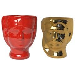 21st Century, Sicilian Moor' Head Ceramic Vases, Handmade Made in Italy 2 Pieces