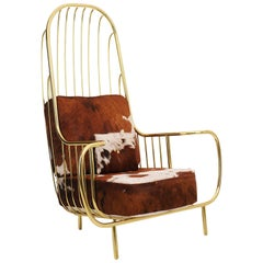 21st Century Liberty Armchair High Back, Polished Brass, Cow Fur Cushions
