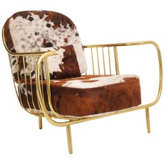 21st Century Liberty Armchair Low Back, Polished Brass Tube, Cow Fur Cushions