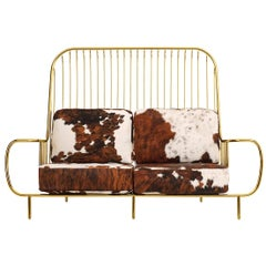 21st Century Liberty Sofa High Back Polished Brass and Natural Cow Fur Cushions