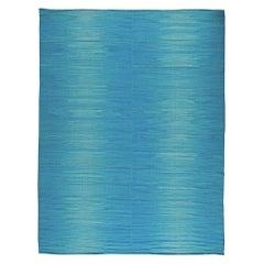 21st Century Light Blue Handmade Wool Kilim Rug