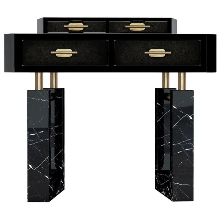 21st Century Lincoln Nightstand Marquina Marble For Sale