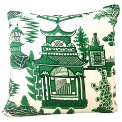 21st Century Linen and Down Chinoiserie Style Printed Pillow by Schumacher
