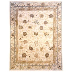 21st Century Lotus Design Beige, Gray and Blue Hand Knotted Wool Rug