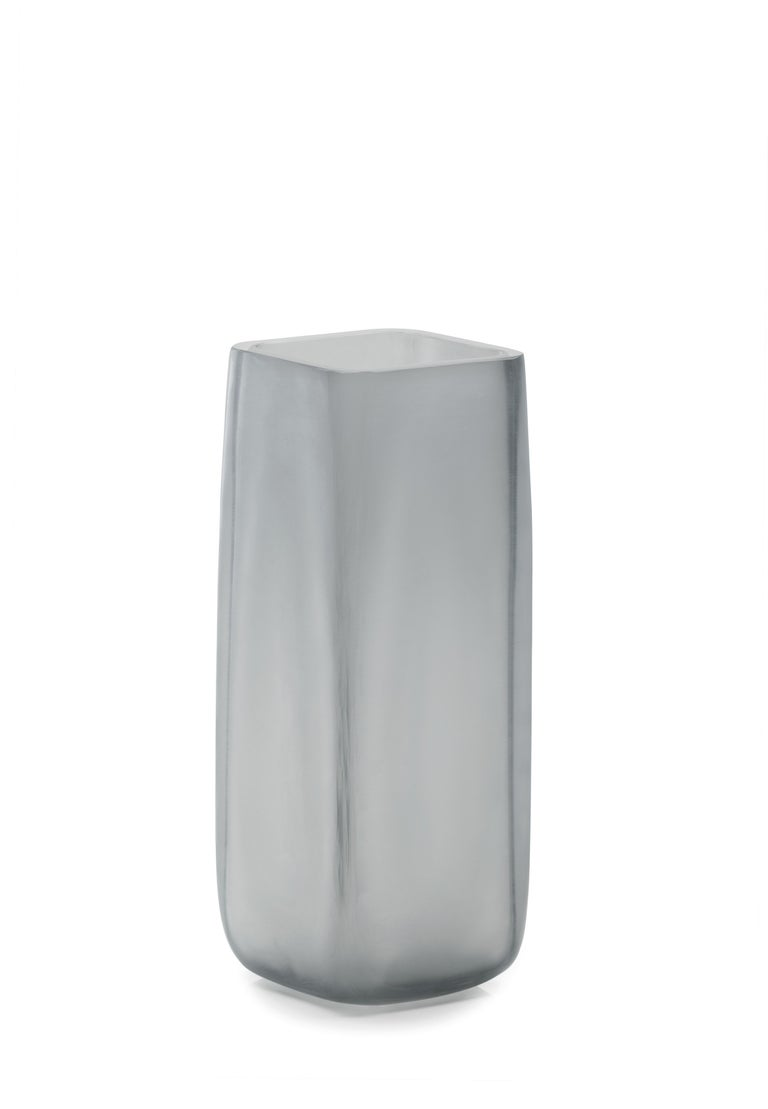 Hand-Crafted 21st Century LPWK Vase Frosted Murano Glass Various Colors For Sale